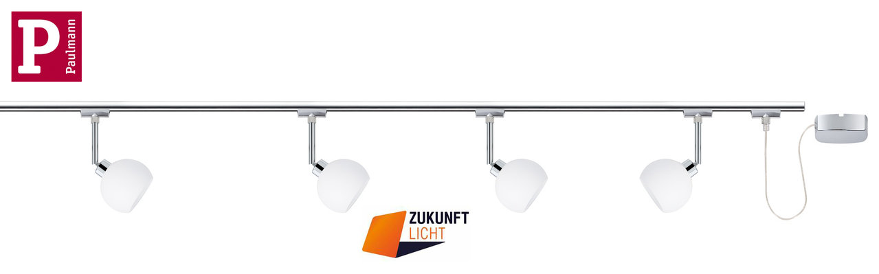 paulmann u rail led komplett set wolbi 4 x 3 5w zukunft licht. Black Bedroom Furniture Sets. Home Design Ideas