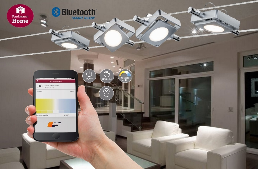 paulmann smart led seilsystem macled 4x4w bluetooth app dimmbar wei lichtsterung. Black Bedroom Furniture Sets. Home Design Ideas