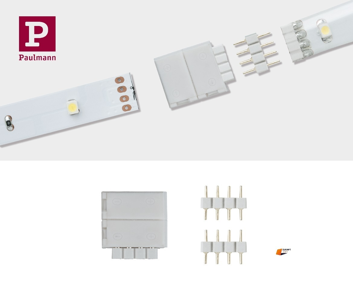 Super Paulmann YourLED ECO Clip-to-YourLED Connector 4pin Weiß 2er Set 70490 WS11