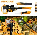 Fiskars 2in1 Set Spaltaxt X21-L Neues Modell Hardware Messer Stay Sharp