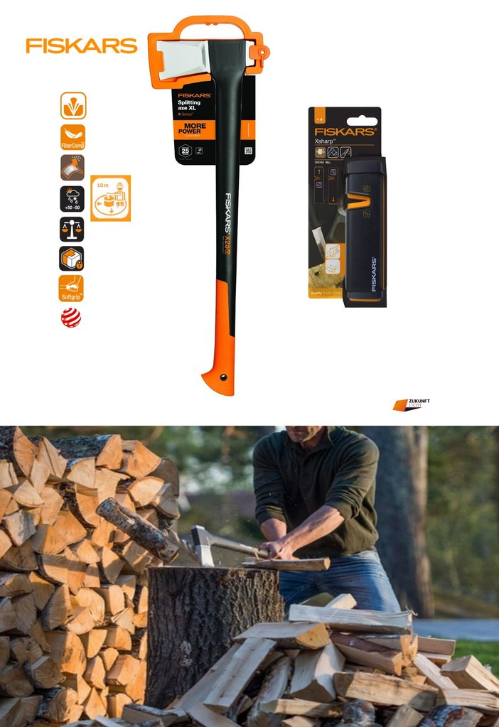 Fiskars 2in1 Set Spaltaxt X25 -XL Xsharp Axt / Messerschärfer